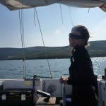 At the helm after anchoring for the night - a full night's sleep is all I need