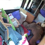 snuggled up for the 25+ hour drive from Seattle WA to Burning Man