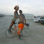 the best way to get around the playa - on Drew's stunt pegs