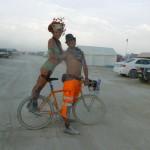 the best way to get around the playa - on Drew's stunt pegs
