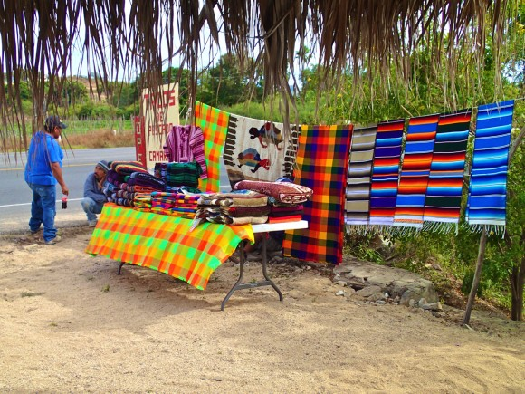 Mexican blankets sold outside our favorite fish taco stand in El Pescadero